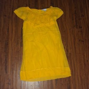 See by Chloé mustard yellow silk ruffle dress